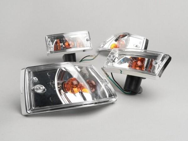 Blinker -BGM ORIGINAL 4er Set- Vespa PX80, PX125, PX150, PX200, T5 125cc Chromgehäuse - Klarglas / Orange Birnen