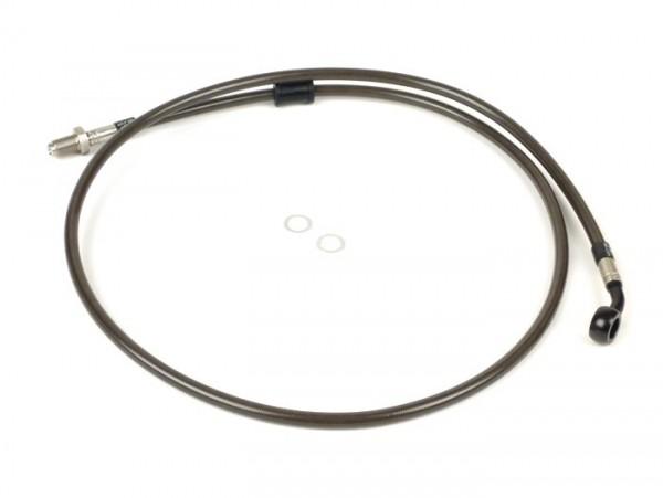 Bremsleitung vorne zur original Bremszange -SPIEGLER Leitung:  Edelstahl (carbon), Fitting: Aluminium (schwarz)- Vespa (mit ABS) GTS 125i.e. Super ABS (ZAPM45300, ZAPM45301), Vespa GTS 300 ABS (ZAPM45200, ZAPM45202), Vespa GTS 300i.e. Super