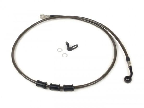 Tubería freno trasero, yendo a la pinza de freno original -SPIEGLER latiguillo:  acero inoxidable (carbono), racores: aluminio (negro)- Vespa (con ABS) GTS 125i.e. Super ABS (ZAPM45300, ZAPM45301), Vespa GTS 300 ABS (ZAPM45200, ZAPM45202), Vespa GTS