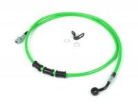Brake hose, rear, to genuine brake caliper -SPIEGLER hose: stainless steel (green), fitting: aluminium (black)- Vespa (with ABS) GTS 125i.e. Super ABS (ZAPM45300, ZAPM45301), Vespa GTS 300 ABS (ZAPM45200, ZAPM45202), Vespa GTS 300i.e. Super ABS (ZAPM