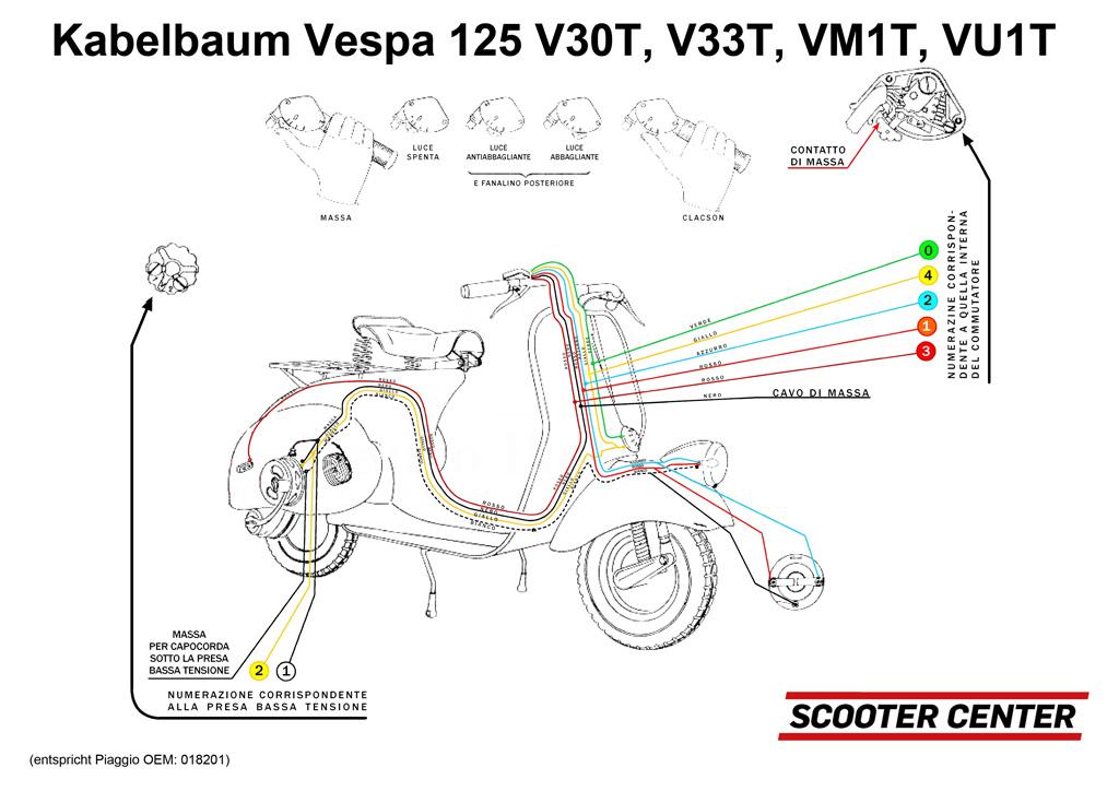 Kabelbaum -VESPA- Vespa 125 V30T bis V33T, VM1T | Elektrik | Rahmen ...