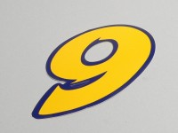 Sticker -NUMBER- 9 - yellow/blue