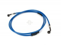Brake hose, rear, for genuine brake caliper -SPIEGLER hose: stainless steel (blue), fitting: aluminium (black)- Vespa (without ABS) GTS 250 (ZAPM451), GTS 125 i.e. (ZAPM453), GTS 300 i.e. (ZAPM452)