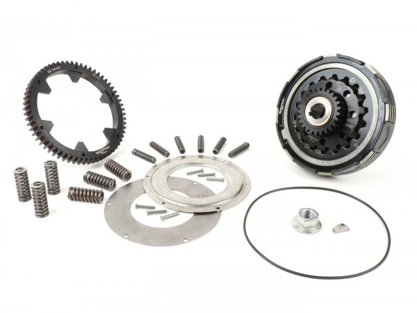 Clutch incl. primary drive set -BGM Pro Superstrong 2.0 CR80 Ultralube, type Cosa2/FL - primary gear BGM Pro 62 tooth (straight) - Vespa PX80, PX125, PX150, PX200, Cosa, T5, Sprint150 Veloce, Rally, GTR, TS125, Super150 (VBC) - 25/62 tooth (2.48)
