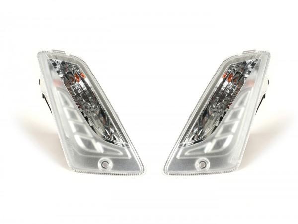 Par de intermitentes, bombillas incl. -PIAGGIO Triom, luz de marcha diurna LED (homologación de marca E)- Vespa GTS 125-300 (2014-, Facelift) - incoloro - cristal sin estriados
