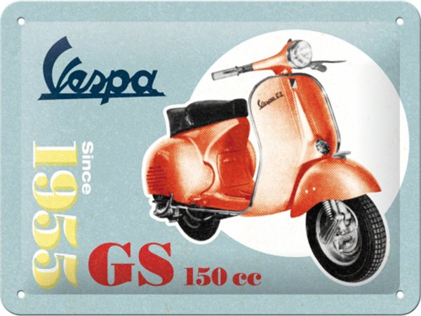 "Advertising sign -Nostalgic Art- Vespa, ""Vespa GS 150 Since 1955"", 15x20cm"
