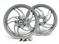 Coppia cerchi ruota incl. kit conversione -PIAGGIO 3.00-12 pollici - 10 razze- tipo Fly - per Vespa GT, GTL, GTS 125-300, GTV (senza ABS) - argento