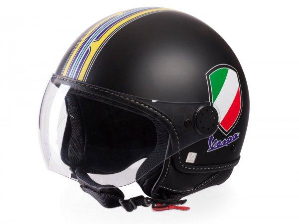 Helm -VESPA Jethelm V-Stripes- schwarz gelb (Casco Black)- S (55-56 cm)