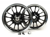 Pair of wheel rims incl. conversion kit -PIAGGIO 3.00-12 inch - 14 spokes- type Vespa Sprint 50-150cc - fits Vespa GT, GTL, GTS 125-300, GTV - black, polished rim