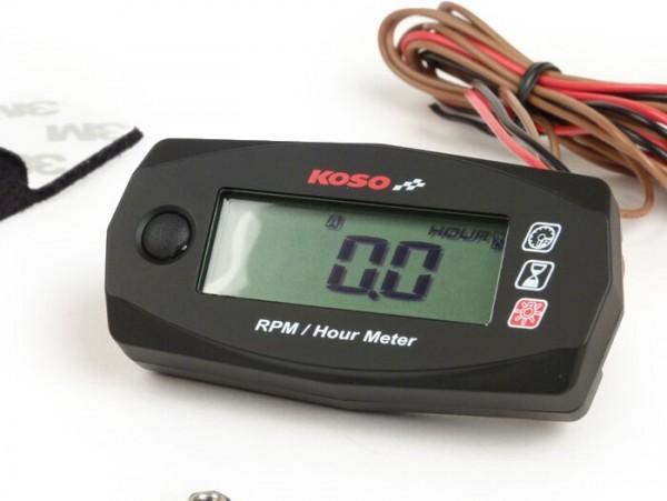 Cuentarrevoluciones y contador de horas de servicio -KOSO Mini Style- universal (69,8x34,4x17,2mm)