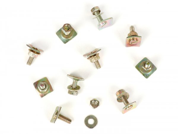 Screw set for fixing trims on mudguard/side panel -AMS CUPPINI, Blech- Vespa VBB, VNB, GT (VNL2T), GTR (VNL2T), GL (VLA1T), Super 125/150 (VNC1T/VBC1T), GS160 (VSB1T), SS180 (VSC1T) - 10 pcs