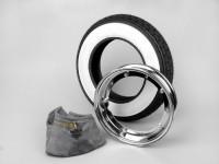 Kit neumático -VESPA CONTINENTAL banda blanca K62- 3.50 - 10 pulgadas TT 59J (reforzado) - llanta 2.10-10 cromo