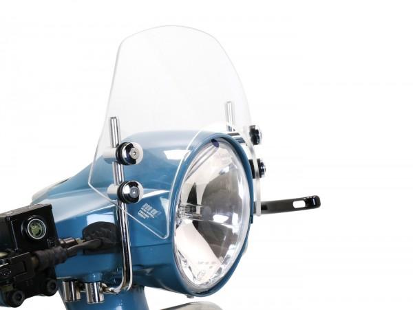 Windschutzscheibe mit verchromten Haltern -MOTO NOSTRA, b=340mm, h=105mm- Vespa PX80, PX125, PX150, PX200, LML 125/150 Star/Stella - farblos