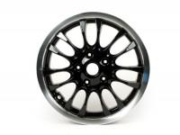 Wheel rim, front -PIAGGIO 3.00-12 inch - 14 spokes- Vespa Sprint 50-150cc -  black, polished rim