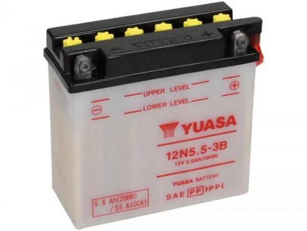 Batterie -Standard YUASA 12N5,5-3B- 12V, 6Ah - 130x60x135mm (ohne Säure)