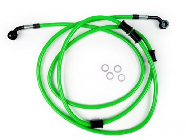 Bremsleitung hinten für Bremszange Brembo P32G, P34G, Frando -SPIEGLER Leitung: Edelstahl (grün), Fitting: Aluminium (schwarz)- Vespa (ohne ABS) GTS 250 (ZAPM451), GTS 125 i.e. (ZAPM453), GTS 300 i.e. (ZAPM452)