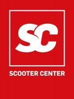 "Banner -SCOOTER CENTER- banner 150x205cm, red/white ""SC"" logo with lettering ""SCOOTER CENTER"""