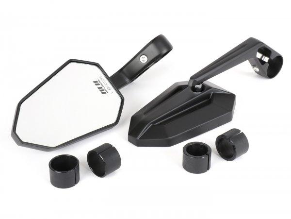 Spiegel-Set -MOTO NOSTRA 1402- Lenkerenden- Aluminium- matt schwarz eloxiert- E-Kennzeichnung
