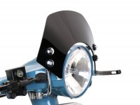 Flyscreen with chromed brackets -MOTO NOSTRA, w=340mm, h=105mm- Vespa PX80, PX125, PX150, PX200, LML 125/150 Star/Stella - black