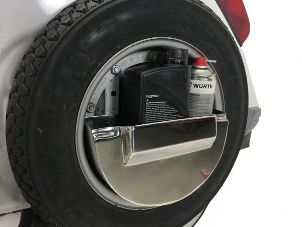 Caja herramientas para rueda de recambio suelo central (también para cófano) -SPAQ Sparewheelbox- Vespa PX, T5 125cc - acero inoxidable