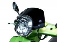 Windschutzscheibe mit schwarzen Haltern -MOTO NOSTRA, b=340mm, h=105mm- Vespa GT, GTL, GTS, GTS Super 125-300ccm - schwarz getöntes Glas