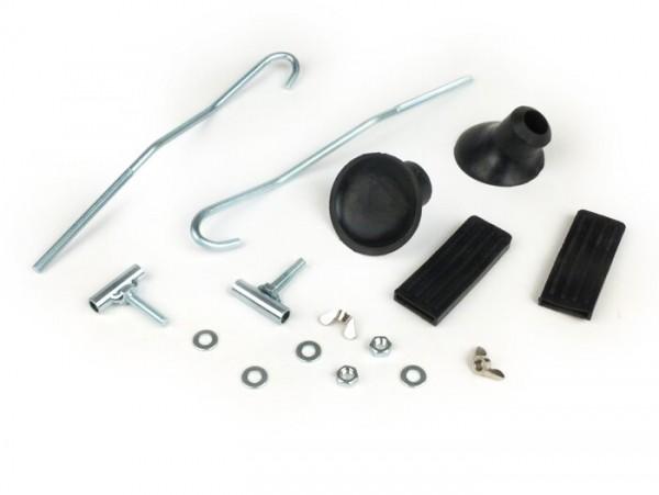 Reparatur-Set Gepäckträger klappbar vorne -MOTO NOSTRA- Vespa Smallframe V50, PV125, ET3, Vespa Largeframe Rally180, Rally200, Sprint150, TS125, GT125, GTR125 - Silbern