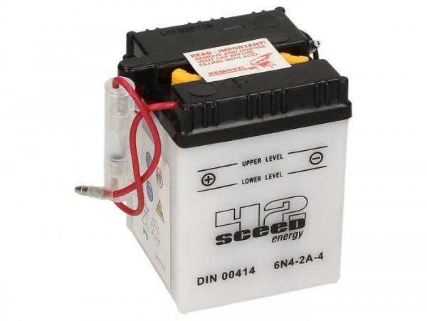 Batterie -Standard SCEED 42 Energy- 6N4-2A-4 - 6V, 4Ah - 71x71x95mm (inkl. Säurepack)