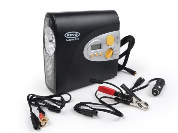 Compresor inflador neumáticos de moto y scooter, automático y digital -RING AUTOMOTIVE- 12V RAC605, lámpara LED incl. - (205x220x100mm)