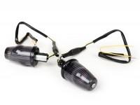 Pair of indicators -MOTO NOSTRA handlebar end indicator LED (E-mark), 12 volt- Vespa V50, 50SS, 50SR, 50 Sprinter, 90SS, 90 Racer, PV125, ET3, Sprint150, Rally180/200 - black