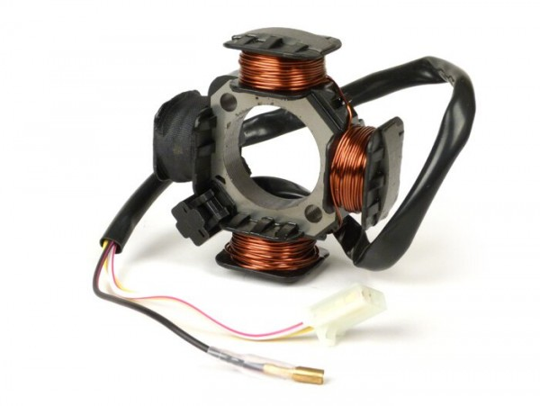 Encendido -CALIDAD OEM soporte bobinas completo- Morini 50cc - 3 cables, Ø=84mm -  (Benelli, Suzuki, Italjet, Malaguti, Derbi, Atala)
