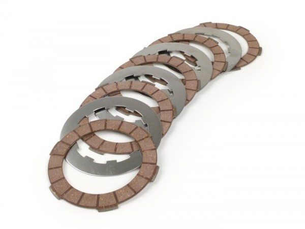 Clutch friction plate set incl. steel plates -BGM PRO Superstrong Racing Red- Lambretta LI, LIS, SX, TV (series 2-3), DL, GP - 5 friction plates