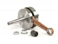 Vilebrequin -MALOSSI (valve rotative) course de 51mm, bielle de 97mm- Vespa PV125, ET3 125, PK80 S, PK125 S (cône Ø=19mm)