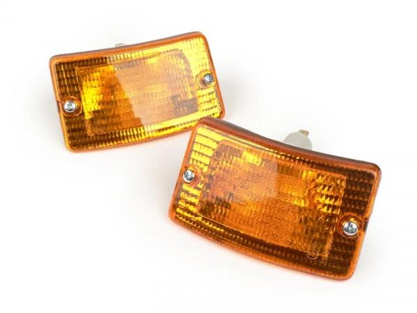 Par de intermitentes -BOSATTA- Vespa PK50 XL, PK125 XL - delantero - naranja