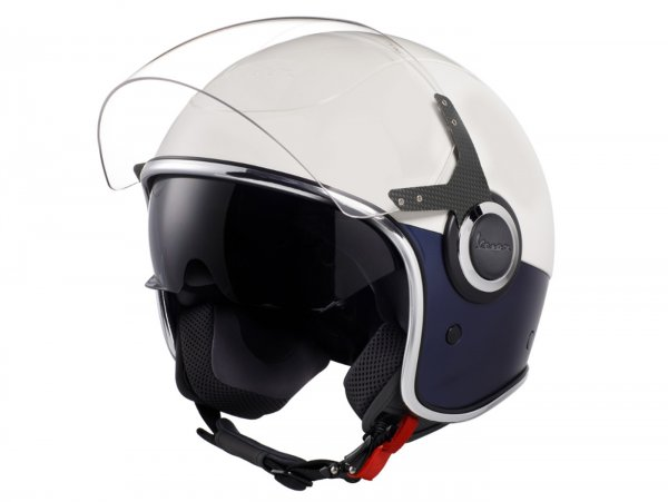 Helmet -VESPA VJ- open face helmet, Bianco / Blu Opaco - XS (52-54cm)
