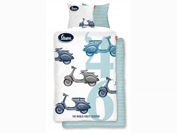 Biancheria da letto -Vespa The World's Finest Scooter '46- Dimensioni: 135x200cm / 80x80cm, bianco, 100% cotone