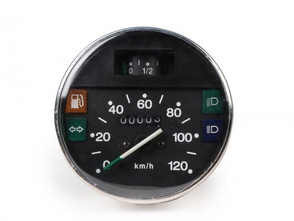 Tacho -PREMIUM- Vespa Ø=105mm - PX Lusso, T5 Classic, My, 2001, 2011 - 120km/h - chrom - auch passend für Vespa PK50/80 S Lusso, PK XL, PK125 ETS