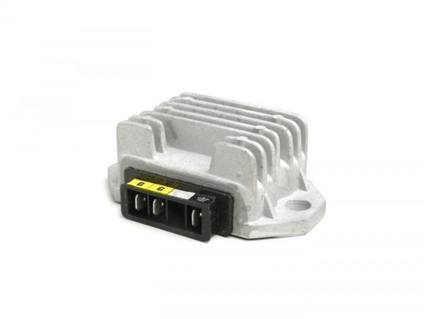Regulador de tensión -OEM QUALITÄT- 3-clavijas 12V (G|G|Terra)- Vespa PX (a partir del año 1984), T5 125cc, PK XL, V50 (sistema cuadruple intermitente), Lambretta (encendido electrónico) - XS (90x55x30mm)