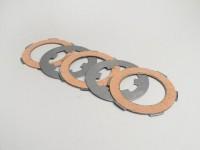 Clutch friction plate set -VESPA Smallframe V50, V90, SS50, SS90, PV125, ET3, PK50, PK80, PK50 S, PK80 S, PK125 S, PK50 XL, PK125 XL, ETS, PK50 HP, PK50 SS  - 3 friction plates (incl. steel plates)