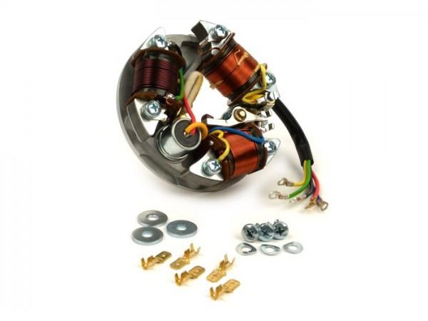 Zündung -VESPA Grundplatte (Kontaktzündung, 5 Kabel, 6V, 3 Spulen, lange Kontakte, ohne Blinker)- Vespa V90 (V9A1T), 90 Racer (V9SS2T), SS90 (V9SS1T), V100 (UK/US, V9B1T), V125 (VMA1T), PV 125 (VMA2T)
