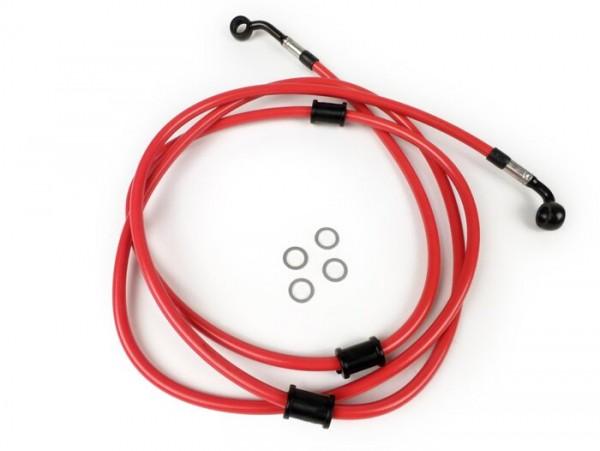 Bremsleitung hinten für Bremszange Brembo P32G, P34G, Frando -SPIEGLER Leitung: Edelstahl (rot), Fitting: Aluminium (schwarz)- Vespa GT 125 (ZAPM311), GT 200 (ZAPM312), GT L 125 (ZAPM311), GT L 200 (ZAPM312), GTS 125 (ZAPM313)
