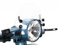 Windschutzscheibe mit schwarzen Haltern -MOTO NOSTRA, b=340mm, h=105mm- Vespa PX80, PX125, PX150, PX200, LML 125/150 Star/Stella - farblos