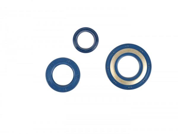 Wellendichtringsatz Motor -CORTECO Gummi (blau)- Vespa PX80, PX125, PX150, PX200 Lusso, T5 125cc, Cosa - Hinterradwellendichtring 30x47x6mm