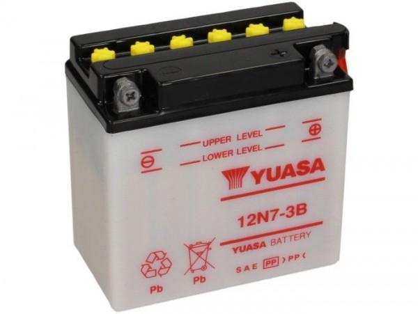 Batterie -Standard YUASA 12N7-3B- 12V, 7Ah - 135x75x135mm (ohne Säure)