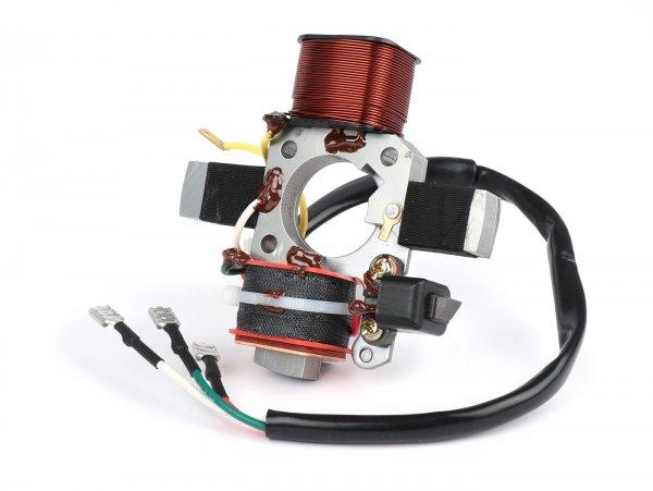 Placa base de encendido - 6V - OEM - Piaggio, Vespa Ciao, SI, Bravo, Boxer, Grillo - modelos sin intermitente, 1 cable para la alimentación