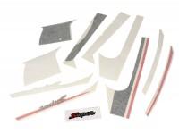 Sticker set for front legshield, mudguard and rear -PIAGGIO Sport- Vespa GTS Super, Super Sport 125-300 - black/red
