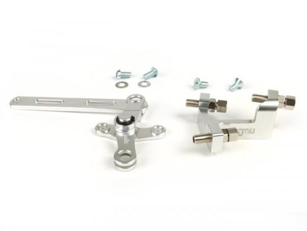 Schaltwaagen-Set inkl. Stellblock -BGM Pro made by JPP, Aluminium CNC- Lambretta LI, LIS, SX, TV (Serie 2-3), SX, DL, GP - Silbern eloxiert