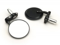 Mirror set -CNC handle bar ends- Ø=80mm - black