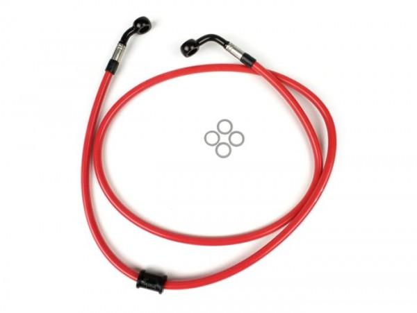 Bremsleitung vorne für Bremszange Brembo P4 30/34 -SPIEGLER Leitung: Edelstahl (rot), Fitting: Aluminium (schwarz)- Vespa (ohne ABS) GT 125 (ZAPM311), GT 200 (ZAPM312), GT L 125 (ZAPM311), GT L 200 (ZAPM312), GTS 125 (ZAPM313), GTS 250 (ZAPM45