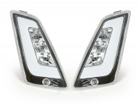 Pair of front indicators -POWER 1 LED (2014-) day time running light (E-mark)- Vespa GT, GTL, GTV, GTS 125-300 - colourless