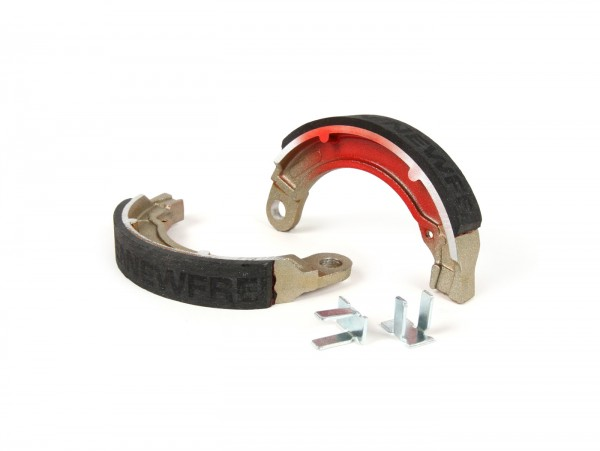 "Brake shoes -BGM PRO Ø=127x20 mm for brake drum BGM5310- Vespa 8"" rear, 1 anchor pin, Vespa Wideframe V1T-V15T (r), V30T-V33T (r), VM (r), VN (r), VL (r), VB (r), VNA1T-VNA2T (r), VNB1T-VNB3T (r), VBA1T (r), VBB1T (r)"
